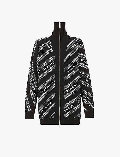 GIVENCHY: Logo-pattern wool cardigan