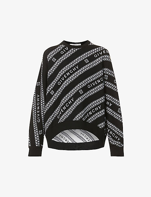 GIVENCHY: Logo-pattern wool jumper