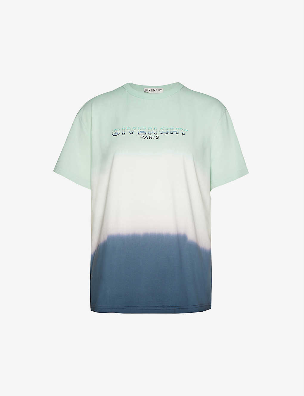 GIVENCHY: Brand-embroidered tie-dye cotton-jersey T-shirt
