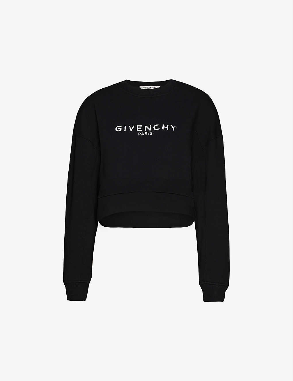 GIVENCHY: Logo-print cropped cotton-jersey jumper