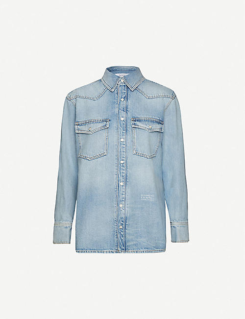 GIVENCHY: Logo-print denim shirt