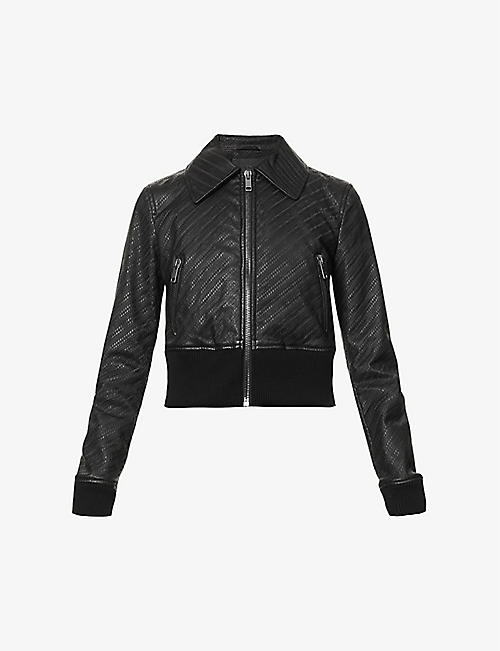 GIVENCHY: Embossed leather bomber jacket