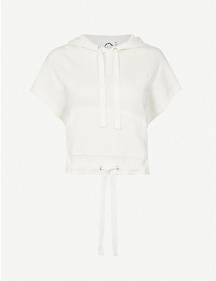 THE UPSIDE: Sleeveless ribbed cotton hoody