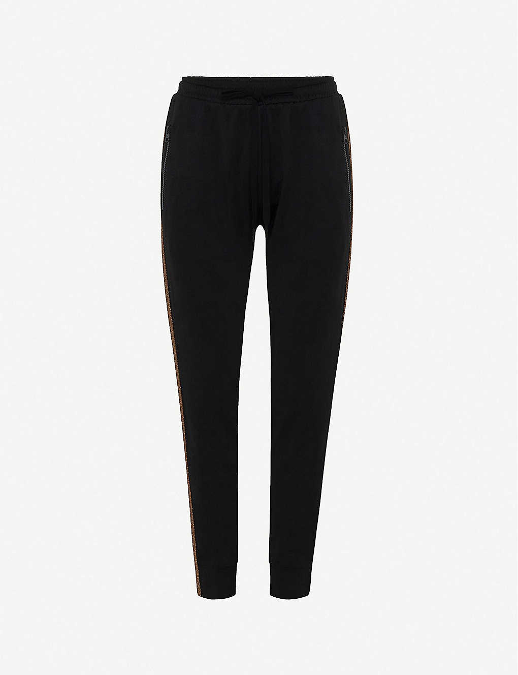 THE UPSIDE: Kodi metallic-trim cotton-blend jogging bottoms