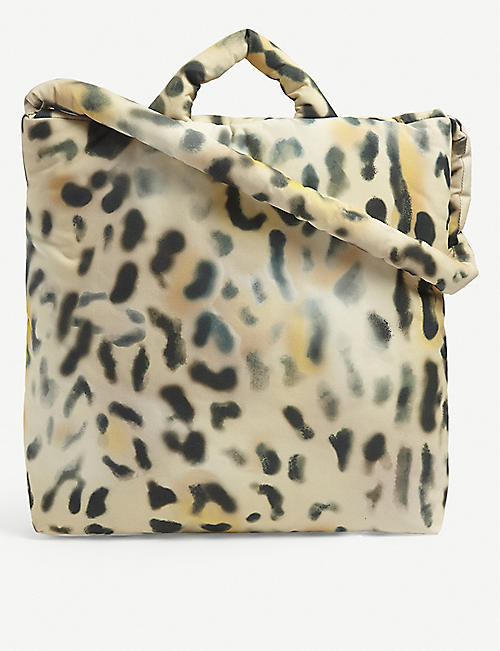 KASSL EDITIONS: Tec leopard-print medium shell tote bag