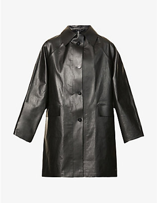 KASSL EDITIONS: Oil coated cotton-blend coat