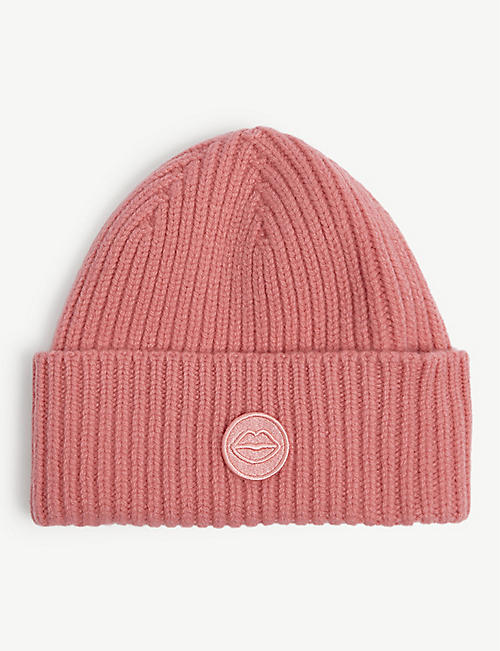 MARKUS LUPFER: Wool lip badge beanie