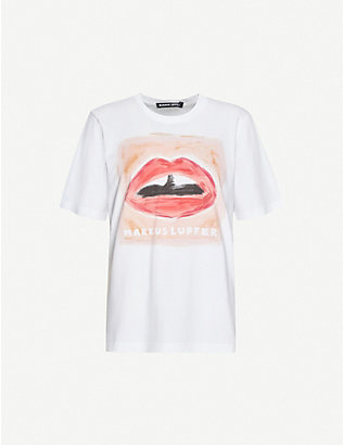 MARKUS LUPFER: Alex Painted Lip cotton-jersey T-shirt