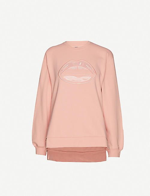 MARKUS LUPFER: Josie embroidered cotton-jersey sweatshirt