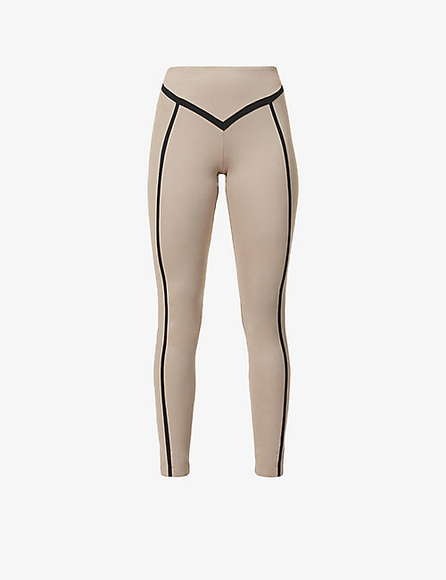 ERNEST LEOTY: Corset contrast-piping high-rise stretch-woven leggings