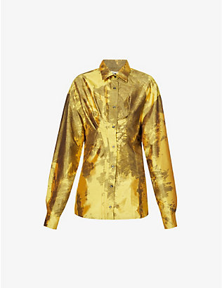 OTTOLINGER: Multiline graphic-print silk shirt
