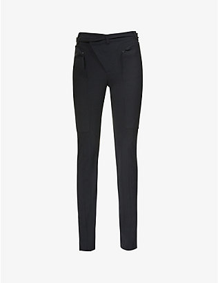 OTTOLINGER: Wrap-waist tapered high-rise woven trousers