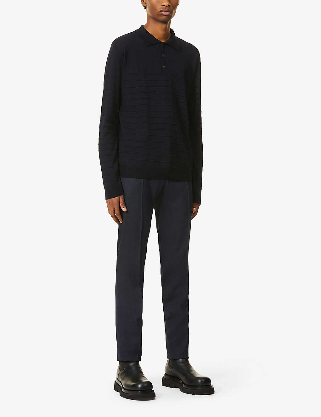 BARENA VENEZIA: Striped relaxed-fit wool polo jumper
