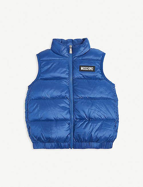 MOSCHINO: Logo-print down padded gilet 4-14 years