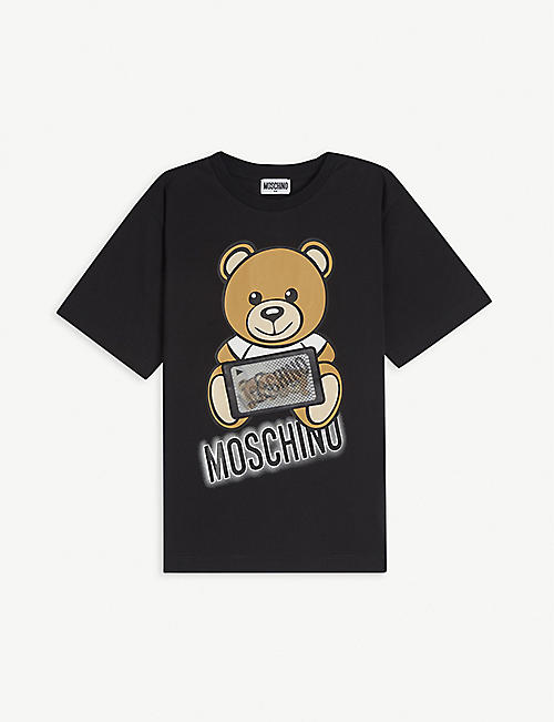 MOSCHINO: Bear hologram patch cotton T-shirt