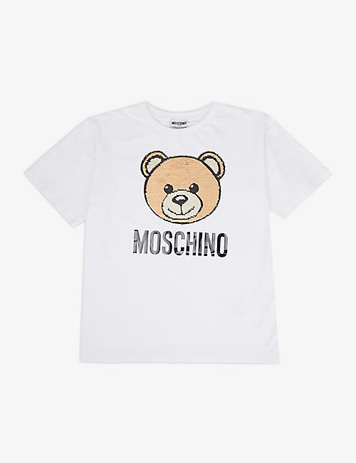 MOSCHINO: Sequin bear stretch-cotton T-shirt 4-10 years