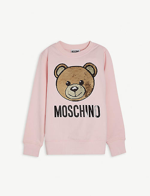 MOSCHINO: Sequin bear cotton sweatshirt 4-14 years