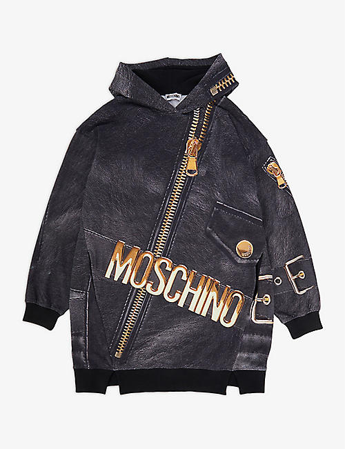 MOSCHINO: Leather jacket-print stretch-cotton hoody dress 4-12 years