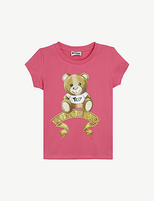 MOSCHINO: Baroque bear-print cotton T-shirt 4-14 years