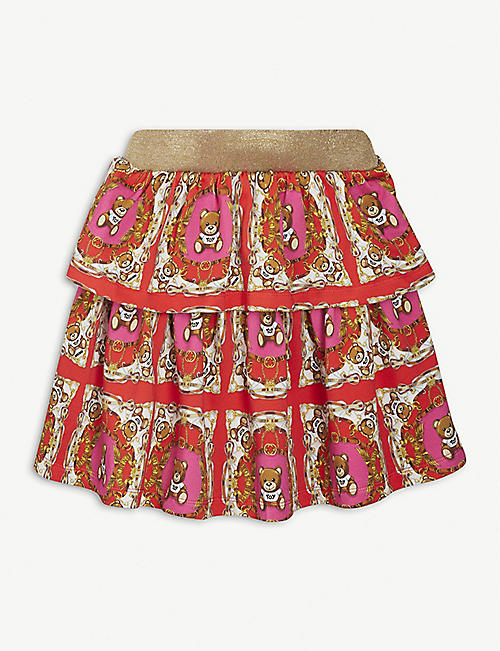 MOSCHINO: Baroque print cotton skirt 4-14 years