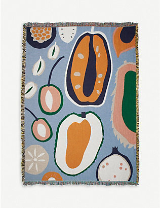 SLOW DOWN STUDIO: Olsen graphic-print woven cotton throw 178cm x 137cm