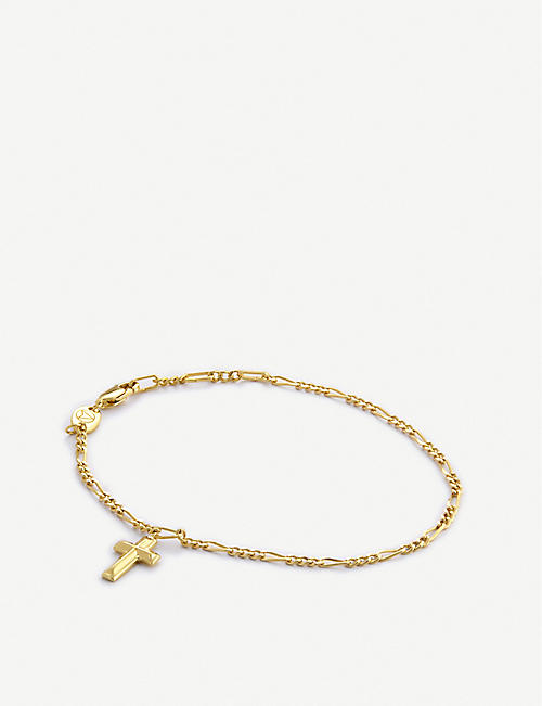 NORTHSKULL: Cross-embellished 18ct gold-plated sterling silver bracelet