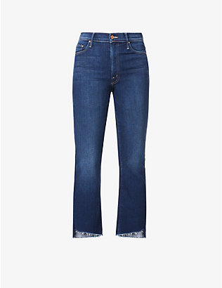 MOTHER: The Insider Crop flared faded high-rise jeans