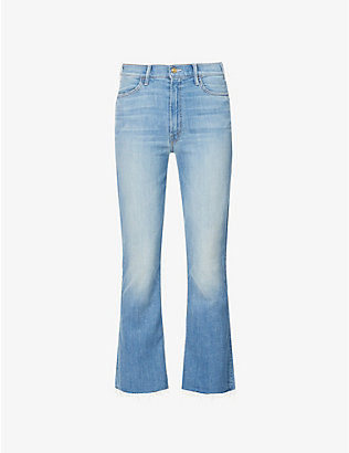 MOTHER: Hustler Ankle Fray high-rise cropped stretch-denim jeans