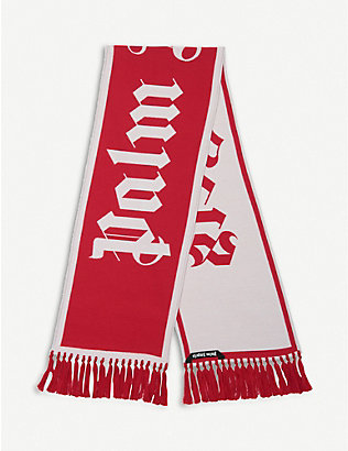 PALM ANGELS: Logo-knit wool scarf