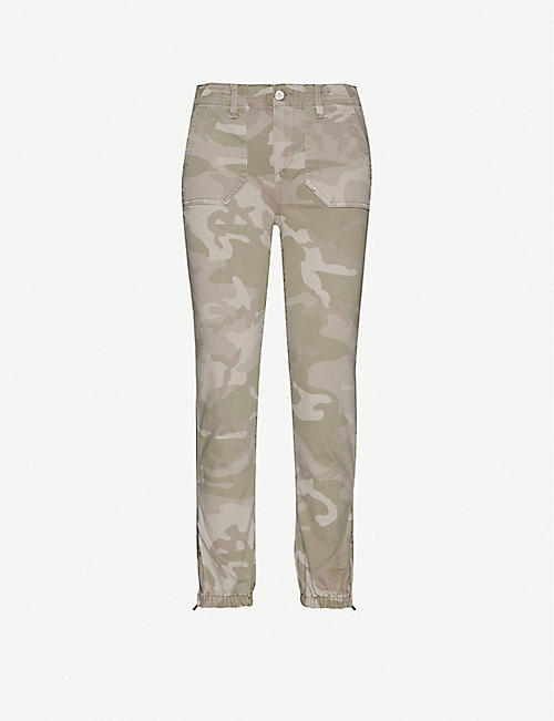 PAIGE: Mayslie camo-print mid-rise stretch-denim jogging bottoms