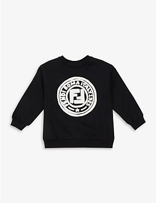 FENDI: Logo-print cotton jumper 4-14 years