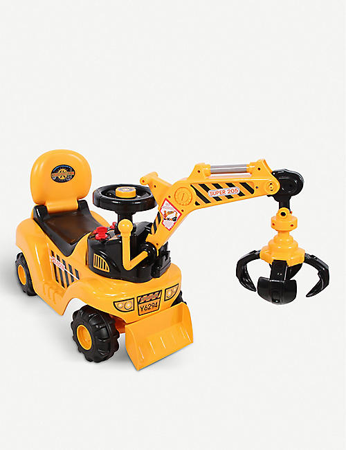 RICCO: 2 in 1 Ride On Toy Digger Excavator Grabber Bulldozer with Helmet