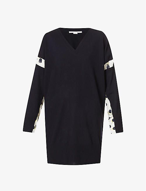 STELLA MCCARTNEY: V-neck contrast-panel wool jumper