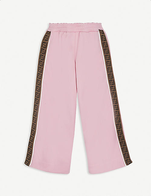 FENDI: Logo tape satin track pants 4-14 years