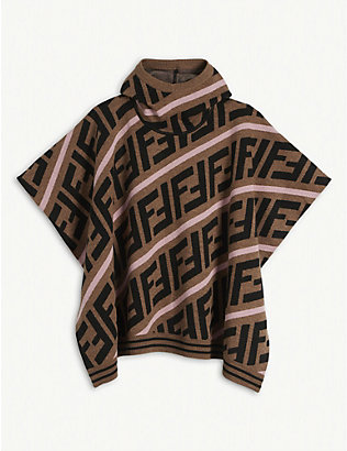 FENDI: FF logo-print cotton-blend poncho 6-8 years