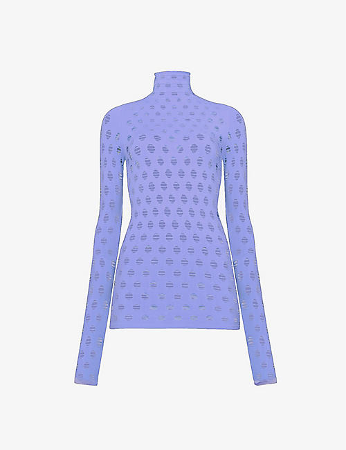 MAISIE WILLEN: Perforated-pattern semi-sheer stretch-jersey top