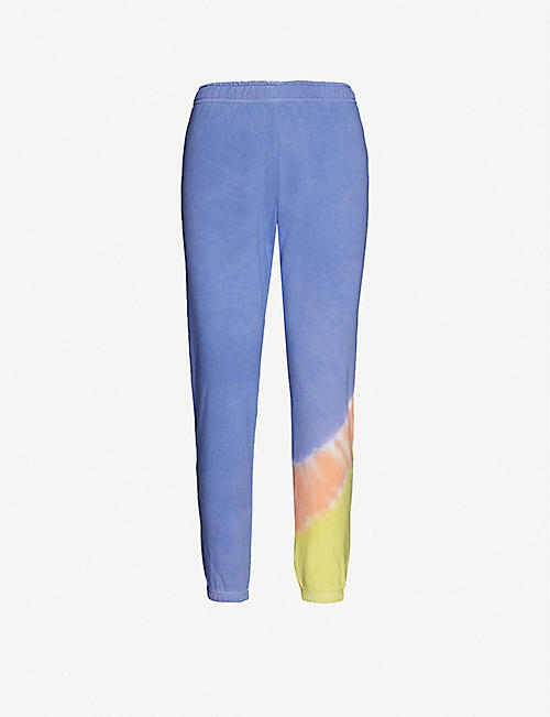 MAISIE WILLEN: Glow tie-dye cotton-jersey jogging bottoms
