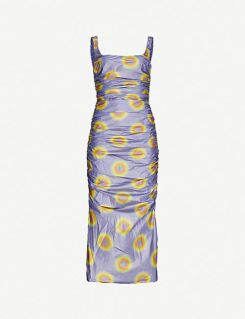 MAISIE WILLEN: Lady Miss graphic-print shell midi dress