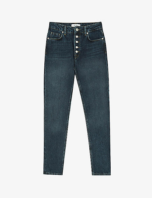 REISS: Bailey slim fit mid-rise cropped cut jeans