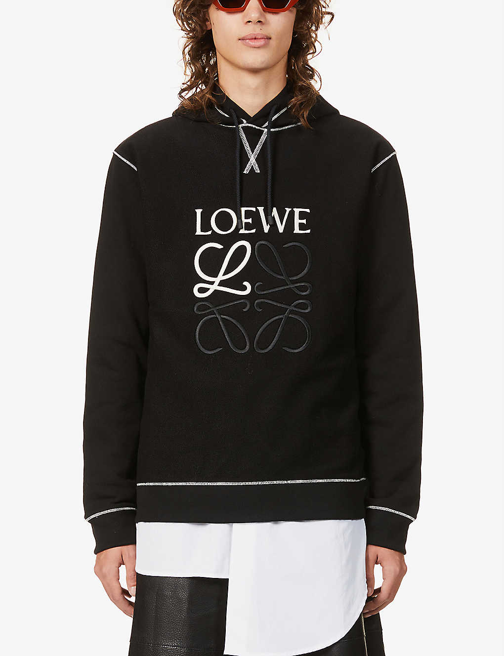 LOEWE: Anagram-embroidered relaxed-fit cotton-jersey hoody