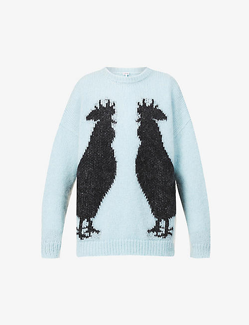 LOEWE: Rooster graphic-pattern mohair-blend jumper