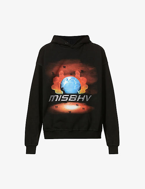 MISBHV: Globe Crystals cotton-blend jersey hoody