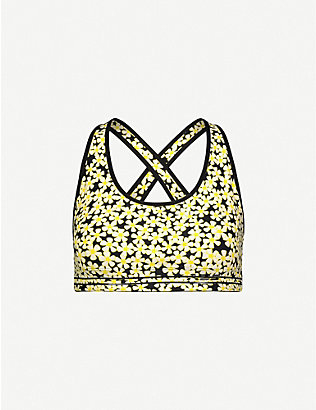 ADAM SELMAN SPORT: Cross-back daisy-print stretch-woven sports bra