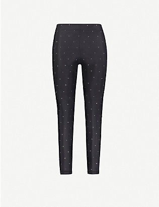 ADAM SELMAN SPORT: Core crystal-embellished mid-rise stretch-jersey leggings