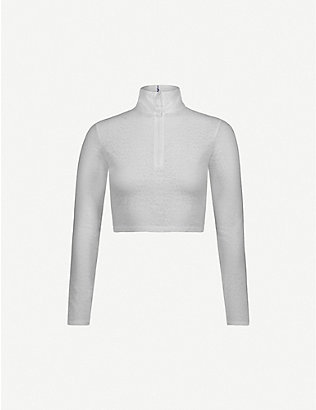 ADAM SELMAN SPORT: Zip-up stretch-lace crop top
