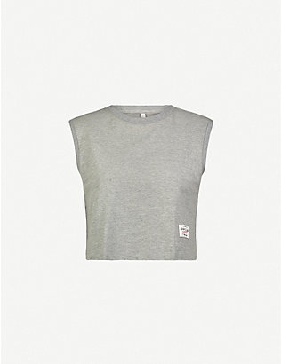 ADAM SELMAN SPORT: Muscle cropped stretch-cotton jersey top