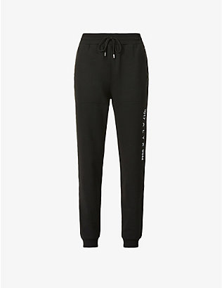 1017 ALYX 9SM: Visual logo-print tapered mid-rise cotton-blend jogging bottoms