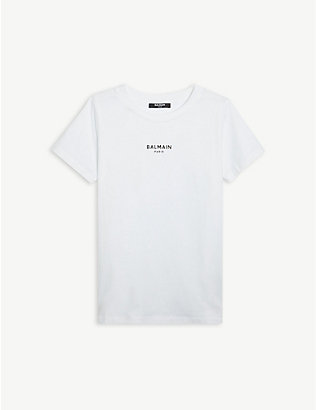 BALMAIN: Logo-print cotton T-shirt 4-16 years