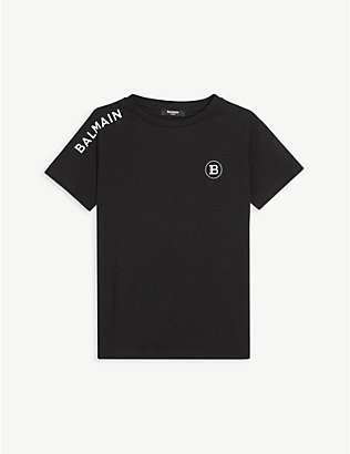 BALMAIN: Logo-embroidered cotton-jersey T-shirt 4-16 years