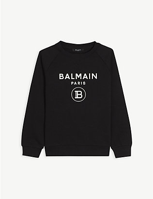 BALMAIN: Logo-print cotton sweatshirt 4-16 years
